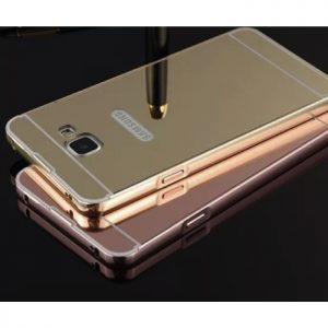 Алюминиевый чехол с акриловой вставкой и зеркальным покрытием для Samsung A510 Galaxy A5 2016 (Gold)