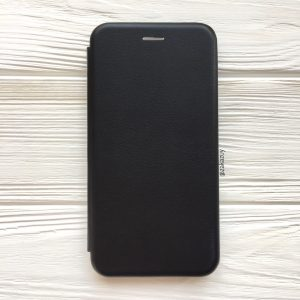 Кожаный чехол-книжка 360 с визитницей для Samsung J700 Galaxy J7 2015 / J7 Neo (Черный)