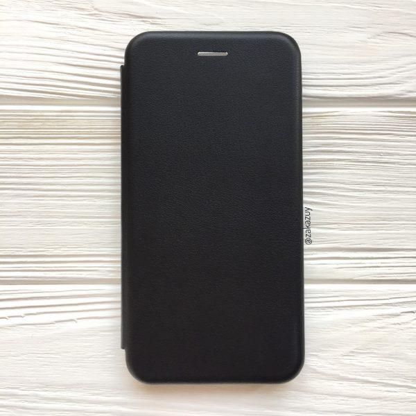 Кожаный чехол-книжка 360 с визитницей для Xiaomi Redmi 7  (Черный)