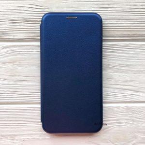 Кожаный чехол-книжка 360 с визитницей для Samsung A705 Galaxy A70 2019 (Синий)