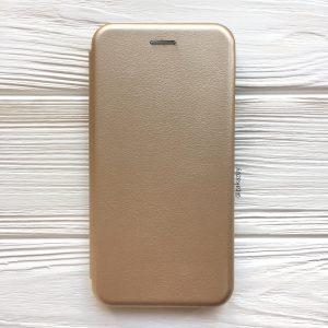 Кожаный чехол-книжка 360 с визитницей для Samsung J700 Galaxy J7 2015 / J7 Neo (Золотой)