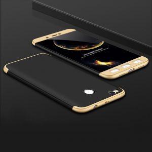 Матовый пластиковый чехол GKK 360 градусов для Xiaomi Mi Max 2 (Black / Gold)