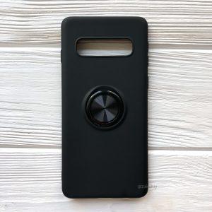 Cиликоновый чехол Summer ColorRing c креплением под магнитный держатель для Samsung G975 Galaxy S10 Plus (Черный)