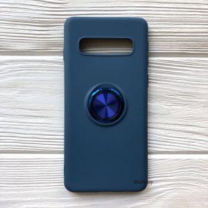 Cиликоновый чехол Summer ColorRing c креплением под магнитный держатель для Samsung G975 Galaxy S10 Plus (Синий)