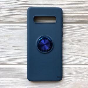 Cиликоновый чехол Summer ColorRing c креплением под магнитный держатель для Samsung G973 Galaxy S10 (Cиний)