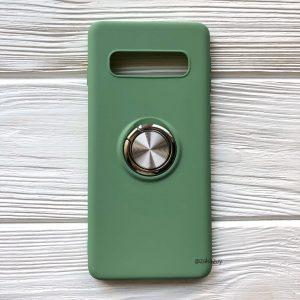 Cиликоновый чехол Summer ColorRing c креплением под магнитный держатель для Samsung G975 Galaxy S10 Plus (Салатовый)