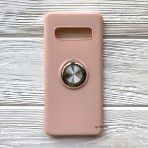 Cиликоновый чехол Summer ColorRing c креплением под магнитный держатель для Samsung G975 Galaxy S10 Plus (Розовый)