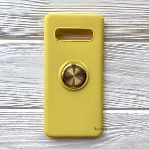 Cиликоновый чехол Summer ColorRing c креплением под магнитный держатель для Samsung G975 Galaxy S10 Plus (Желтый)