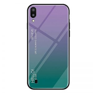 TPU+Glass чехол Gradient HELLO с градиентом для Samsung A105 Galaxy A10 2019 (Фиолетовый)