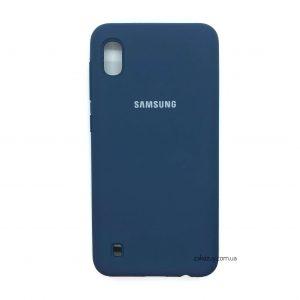 Оригинальный чехол Silicone Cover 360 с микрофиброй для Samsung A105 Galaxy A10 2019 (Navy Blue)