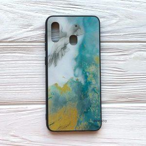 TPU+Glass чехол Luxury Marble с мраморным узором для Samsung A205 / A305 Galaxy A20 / A30 2019 (Голубь)