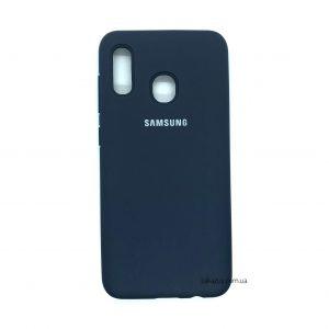 Оригинальный чехол Silicone Cover 360 с микрофиброй для Samsung A205 / A305 Galaxy A20 / A30 (Midnight Blue)