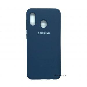 Оригинальный чехол Silicone Cover 360 с микрофиброй для Samsung A205 / A305 Galaxy A20 / A30 (Navy Blue)