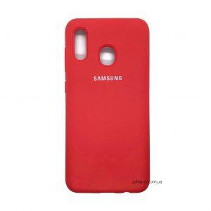 Оригинальный чехол Silicone Cover 360 с микрофиброй для Samsung A205 / A305 Galaxy A20 / A30 (Red)