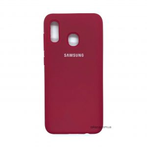 Оригинальный чехол Silicone Cover 360 с микрофиброй для Samsung A205 / A305 Galaxy A20 / A30 (Hot Pink)