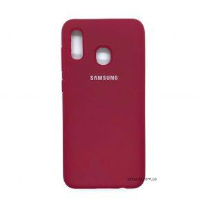 Оригинальный чехол Silicone Cover 360 с микрофиброй для Samsung A205 / A305 Galaxy A20 / A30 (Hot Pink)