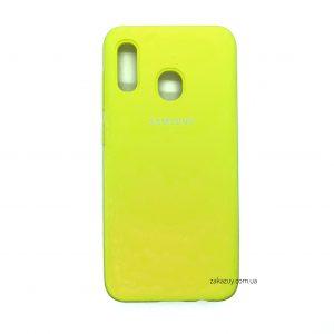Оригинальный чехол Silicone Cover 360 с микрофиброй для Samsung A205 / A305 Galaxy A20 / A30 (Yellow)