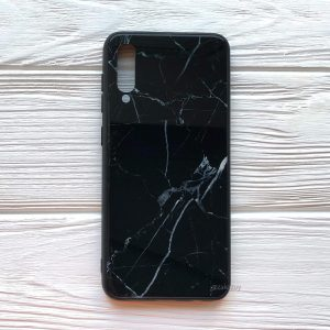 TPU+Glass чехол Luxury Marble с мраморным узором для Samsung A505 Galaxy A50 2019 (Черный)
