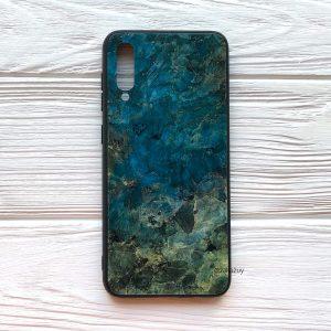 TPU+Glass чехол Luxury Marble с мраморным узором для Samsung Galaxy A70 2019 (A705) (Морская Волна)
