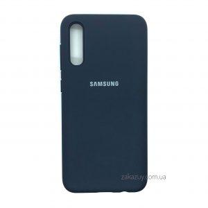 Оригинальный чехол Silicone Cover 360 с микрофиброй для Samsung Galaxy A70 2019 (A705) Темно-синий