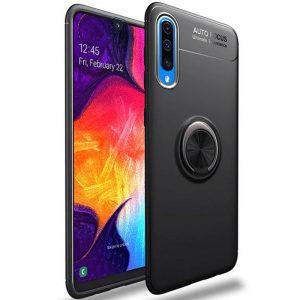 Cиликоновый чехол Deen ColorRing c креплением под магнитный держатель для Samsung A705 Galaxy A70 2019 (Черный)