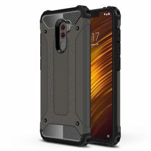 Противоударный бронированный чехол Spigen для Xiaomi Pocophone F1 (Gun Metal)