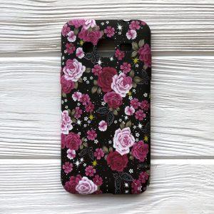 Матовый силиконовый чехол с цветами для Samsung J310 / J320 Galaxy J3 2016 (Черный)