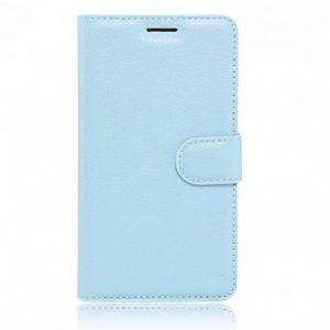 Кожаный чехол-книжка Wallet Glossy с визитницей для Meizu M3 Note (Голубой)