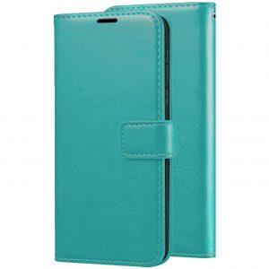 Кожаный чехол-книжка Wallet Glossy с визитницей для Xiaomi Redmi 7A (Бирюзовый)