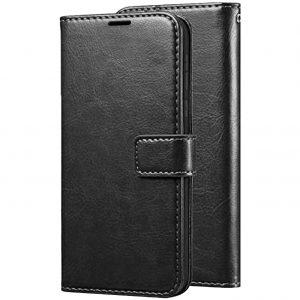 Кожаный чехол-книжка Wallet Glossy с визитницей для Xiaomi Redmi 8A – Черный