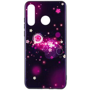 TPU+Glass чехол Fantasy с глянцевыми торцами для Huawei P30 Lite (Bubbles and flowers)