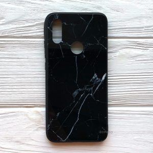 TPU+Glass чехол Luxury Marble с мраморным узором для Xiaomi Redmi Note 7 / 7 Pro (Черный)