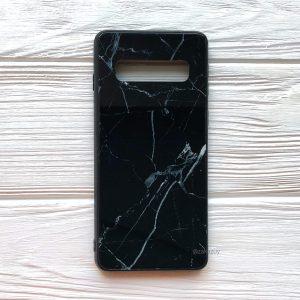 TPU+Glass чехол Luxury Marble с мраморным узором для Samsung G975 Galaxy S10 Plus (Черный)