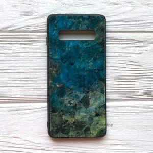TPU+Glass чехол Luxury Marble с мраморным узором для Samsung G975 Galaxy S10 Plus (Морская волна)