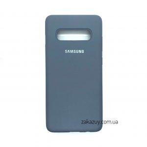 Оригинальный чехол Silicone Cover 360 с микрофиброй для Samsung G973 Galaxy S10 (Lavender Grey)