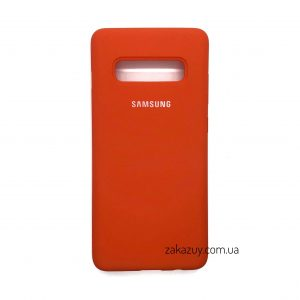 Оригинальный чехол Silicone Cover 360 с микрофиброй для Samsung G973 Galaxy S10 (Orange)