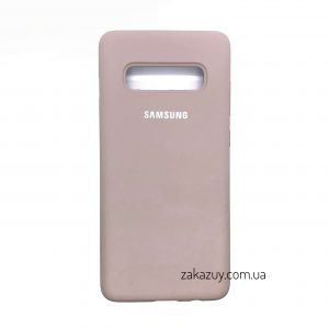 Оригинальный чехол Silicone Cover 360 с микрофиброй для Samsung G973 Galaxy S10 (Pink Sand)