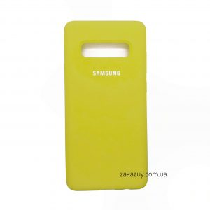 Оригинальный чехол Silicone Cover 360 с микрофиброй для Samsung G973 Galaxy S10 (Yellow)