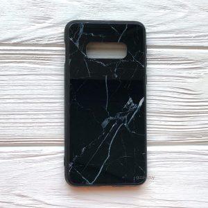 TPU+Glass чехол Luxury Marble с мраморным узором для Samsung G970 Galaxy S10e (Черный)