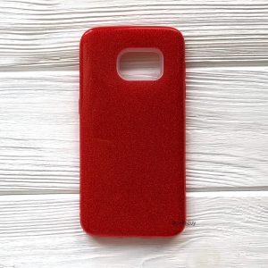 Cиликоновый (TPU+PC) чехол Shine с блестками для Samsung G930 Galaxy S7 (Красный)