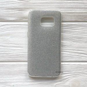 Cиликоновый (TPU+PC) чехол Shine с блестками для Samsung G930 Galaxy S7 (Серебряный)