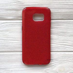 Cиликоновый (TPU+PC) чехол Shine с блестками для Samsung G935 Galaxy S7 Edge (Красный)