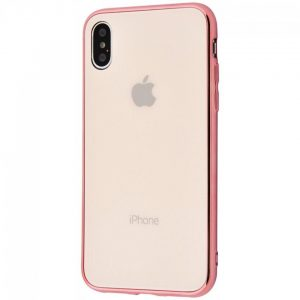 TPU+Glass чехол Glass Case Logo зеркальный для Iphone XS Max (Rose Gold)