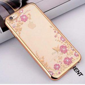 Прозрачный силиконовый (TPU) чехол (накладка) с глянцевым ободком с цветами и стразами для Iphone 6 Plus / 6s Plus (Золотой)