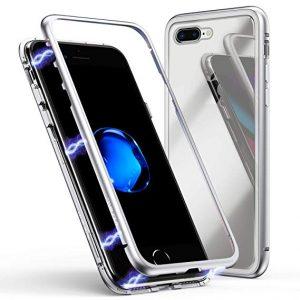 Магнитный противоударный чехол (бампер) 360 градусов защиты для Iphone 7 Plus / 8 Plus (Серебряный)