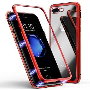 Магнитный противоударный чехол (бампер) 360 градусов защиты для Iphone 7 Plus / 8 Plus (Красный)