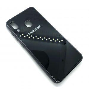 TPU+Glass чехол Glass Case Logo зеркальный для Samsung Galaxy A20 / A30 2019 (Черный)