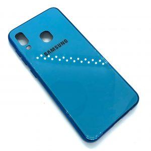 TPU+Glass чехол Glass Case Logo зеркальный для Samsung Galaxy A20 / A30 2019 (Голубой)