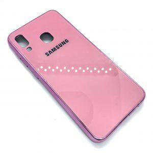TPU+Glass чехол Glass Case Logo зеркальный для Samsung Galaxy A20 / A30 2019 (Розовый)