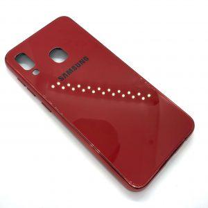 TPU+Glass чехол Glass Case Logo зеркальный для Samsung Galaxy A20 / A30 2019 (Красный)